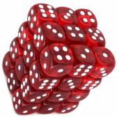 Red & White Translucent 12mm D6 Dice Block